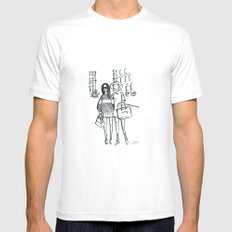 Brush Pen Fashion Illustration - Friends White SMALL Mens Fitted Tee