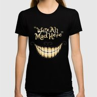 We're All Mad Here Womens Fitted Tee Black MEDIUM