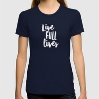 Live Full Lives Womens Fitted Tee Navy SMALL