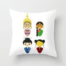 Asian Dolls Throw Pillow