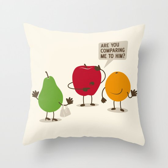 Like Apples and Oranges Throw Pillow
