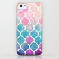 iPhone 5c Cases featuring Rainbow Pastel Watercolor Moroccan Pattern by micklyn