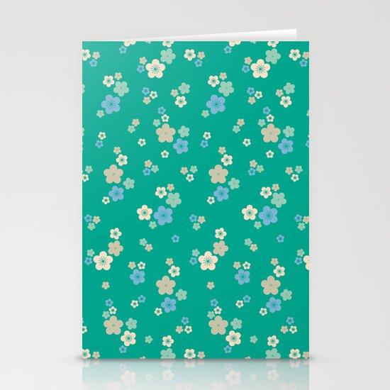blossom ditsy in emerald Stationery Card