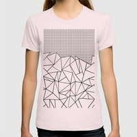 Abstract Outline Grid Black on White Womens Fitted Tee Light Pink SMALL