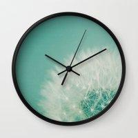 Aqua Dandelion  Wall Clock
