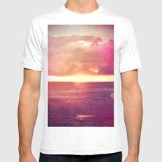 Ocean Sunset Bokeh White SMALL Mens Fitted Tee