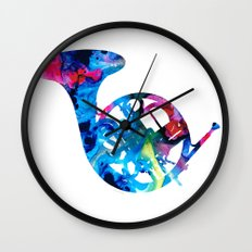 Colorful French Horn 2 - Cool Colors Abstract Art Sharon Cummings Wall Clock