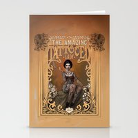 lady gaga Stationery Cards featuring The Amazing Tattooed Lady by Rudy Faber