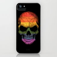 iPhone Cases featuring Dark Skull with Gay Pride Rainbow Flag by Jeff Bartels
