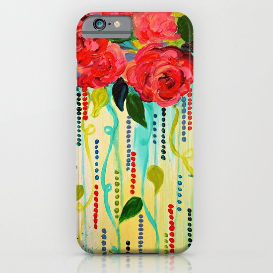 ROSE RAGE Stunning Summer Floral Abstract Flower Bouquet Feminine Pink Turquoise Lime Nature Art iPhone & iPod Case