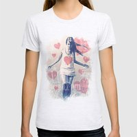 ALL I NEED IS LOVE Womens Fitted Tee Ash Grey SMALL