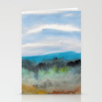 Watercolor abstract landscape 08 Stationery Cards