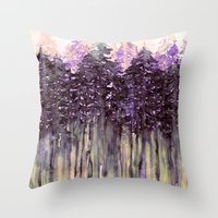 NORTHWEST VIBES Colorful Watercolor Painting Forest Trees Violet Green Modern Nature Art West Coast  Throw Pillow