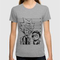 Rick And Morty Womens Fitted Tee Athletic Grey LARGE