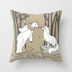 Arctic fox and Polar bear, Romeo and Juliet Throw Pillow