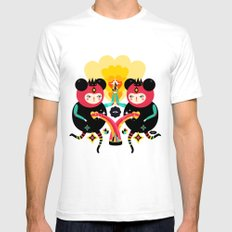 Rainbow Love SMALL Mens Fitted Tee White