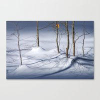 Winter Snow and the Last Autumn Orange Leaves in the in the Upper Peninsula of Michigan No.0521 A Fi Canvas Print