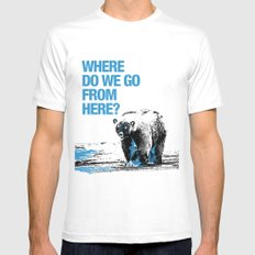 WHERE? White Mens Fitted Tee SMALL