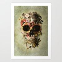 skull Art Prints featuring Garden Skull Light by Ali GULEC