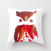 The Watcher - with color Throw Pillow