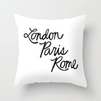 London Paris Rome Throw Pillow