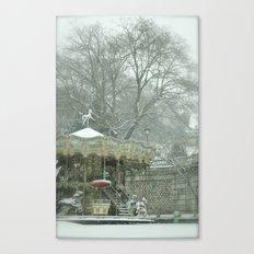 Snowy Carousel Paris Canvas Print
