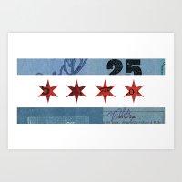 Ephemeral Chicago Flag Art Print