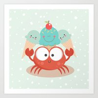 Happy crab Art Print