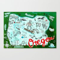 Map Of Oregon Canvas Print