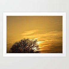 Sunset  behind Tree Art Print