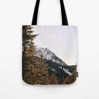 Snow Mountain In The Tre… Tote Bag