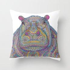 Hippie-Potamus (Multicolour) Throw Pillow