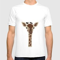 Wild Giraffe Baby on the grassland Mens Fitted Tee White SMALL