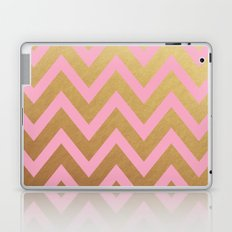 pink and gold chevron Laptop & iPad Skin