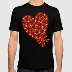 Gold hearts on rich red SMALL Black Mens Fitted Tee