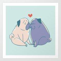 Pugs And Kisses Art Print