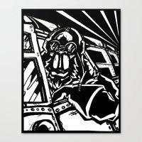 Monkey Pilot Black & White Canvas Print