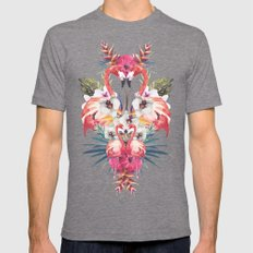 Flamingos Tropicales Mens Fitted Tee Tri-Grey SMALL