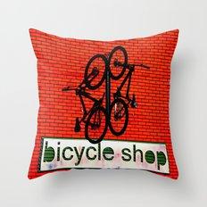 Bicycle Shop Throw Pillow