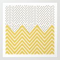 Chartreuse Chevron and dots  Art Print