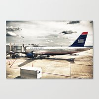 US Aiways Plane at Ronald Reagan Washington National Airport Canvas Print