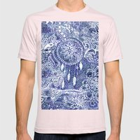 Boho blue dreamcatcher feathers floral illustration Mens Fitted Tee Light Pink SMALL