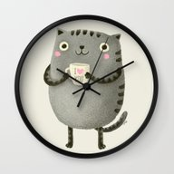 Wall Clock featuring I♥you by Lime