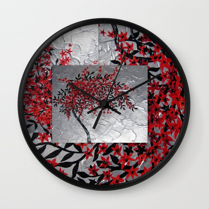 Red and black tree with textured silver background modern for Red and black wall clock