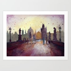 Prague, watercolor explorations in violet  Art Print