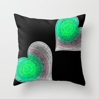 Groovy Hearts Throw Pillow