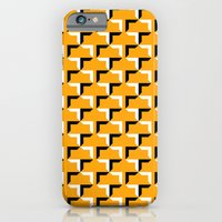 iPhone Cases featuring Cornered Pattern - Black and White on Yellow by Andrew Reach