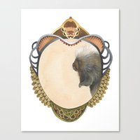 Quilted Forest // Samuel the Porcupine Canvas Print