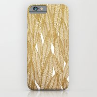 Gold & White Leaves iPhone 6 Slim Case