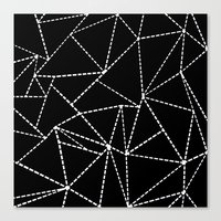 Abstract Dotted Lines White on Black Canvas Print